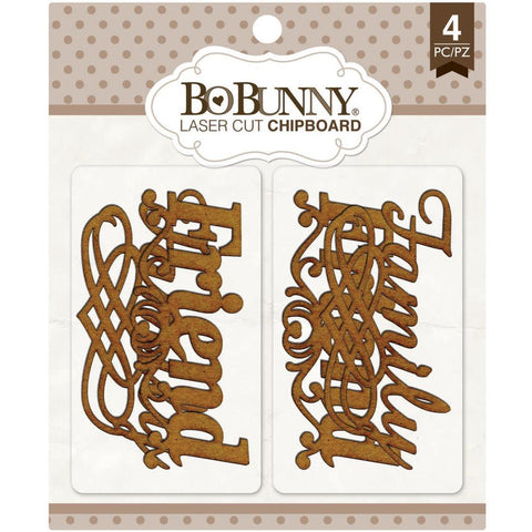 ***New Items*** Bo Bunny, Essentials Laser Cut Chipboard - Family