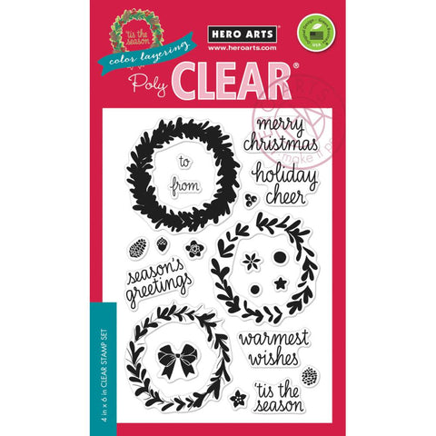 "***New Items*** Hero Arts, Clear Stamps, 4"" x 6"" - Color Layering Wreath"