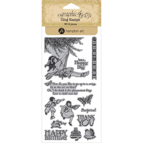Hampton Art, Graphic 45 Children's Hour Cling Stamps - Two