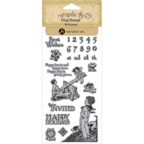 Hampton Art, Graphic 45 Children's Hour Cling Stamps - Three