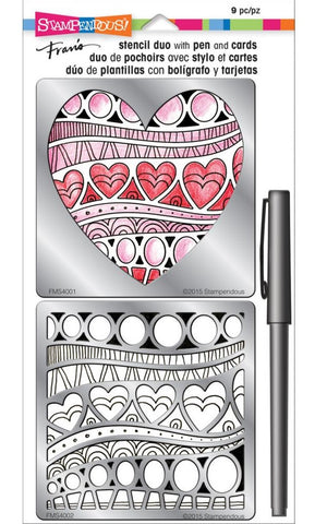 Stampendous - Fran's Stencil Duo with Pen & Cards - Heart