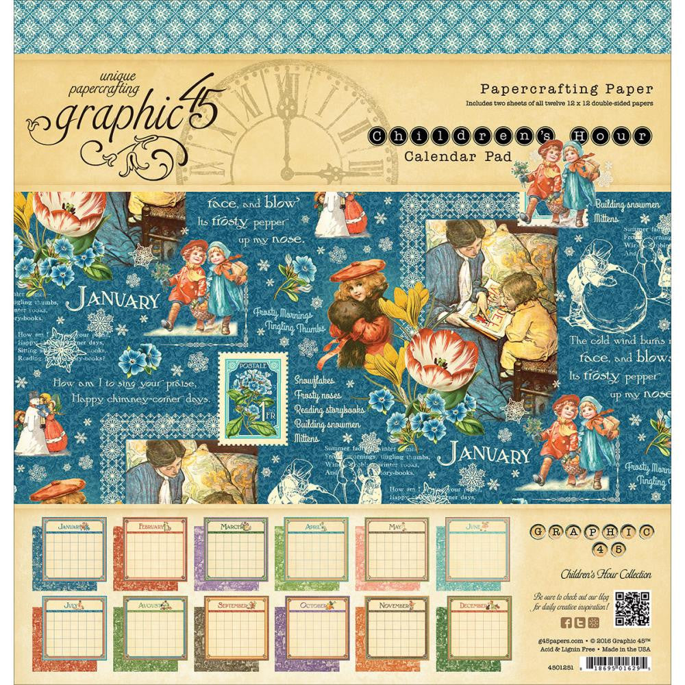 "Graphic 45, Calendar Pad 12""X12"" 24/Pkg - Children's Hour, 12 Designs/2 Each"