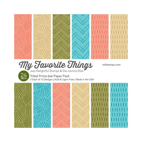 "My Favorite Things - Paper Pad 6""X6"" 24/Pkg - Tribal Prints, 2ea of 12 Designs"