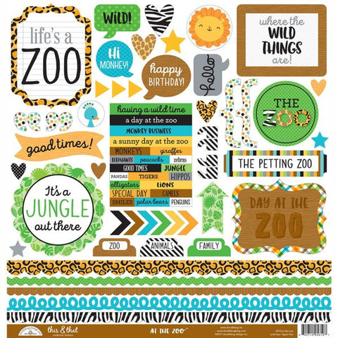 "Doodlebug - At The Zoo Cardstock Stickers 12"" x 12"" - This & That (Available: March 31, 2017)"