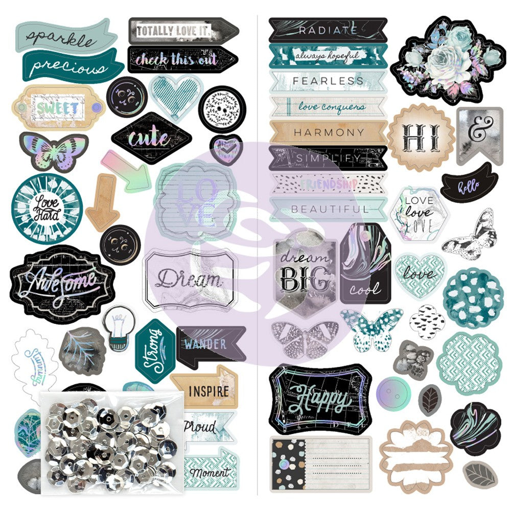 Prima Marketing - Zella Teal Chipboard W/Sequins