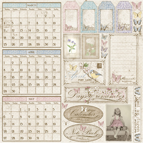 Maja Designs  Vintage Spring Basics - Days To Remember Individual Sheets