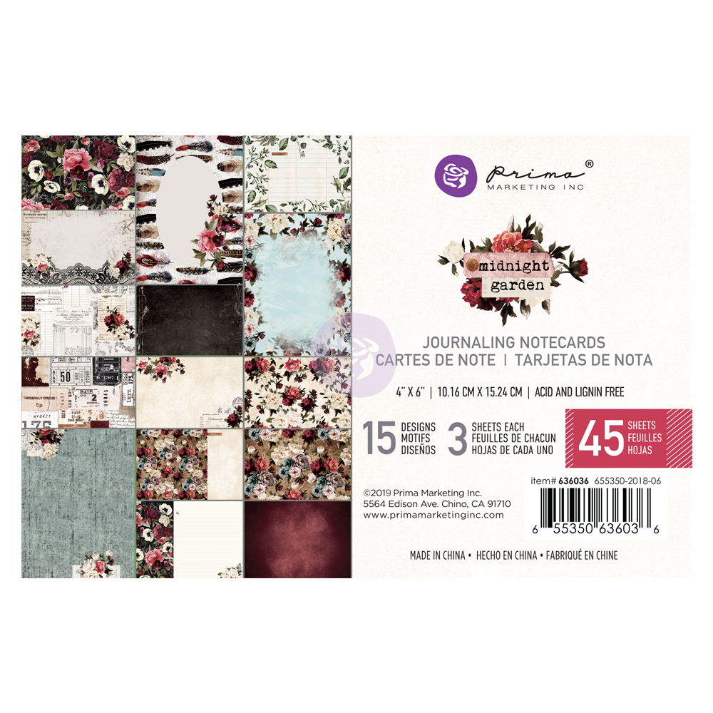 "Prima Marketing - Midnight Garden Journaling Cards Pad 4""X6"" 45/Pkg - 15 Designs/3 Each"