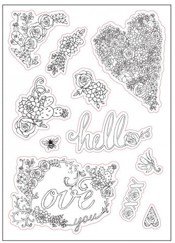 Sizzix - Coloring Stickers By Jen Long - In Bloom (Available: Feb. 28, 2017)
