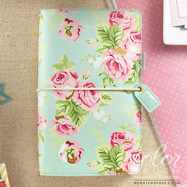 Webster's Pages - Faux Leather Travelers' Planner - Mint Floral