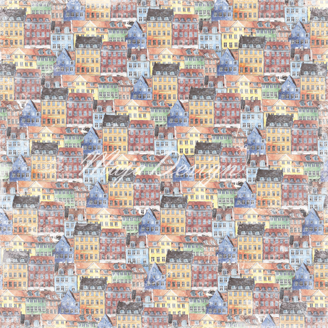 "Brand New Release - Limited Edition - Maja Designs ""NYHAVN"" Collection - Old Townhouses 12"" x 12"" double sided sheet"