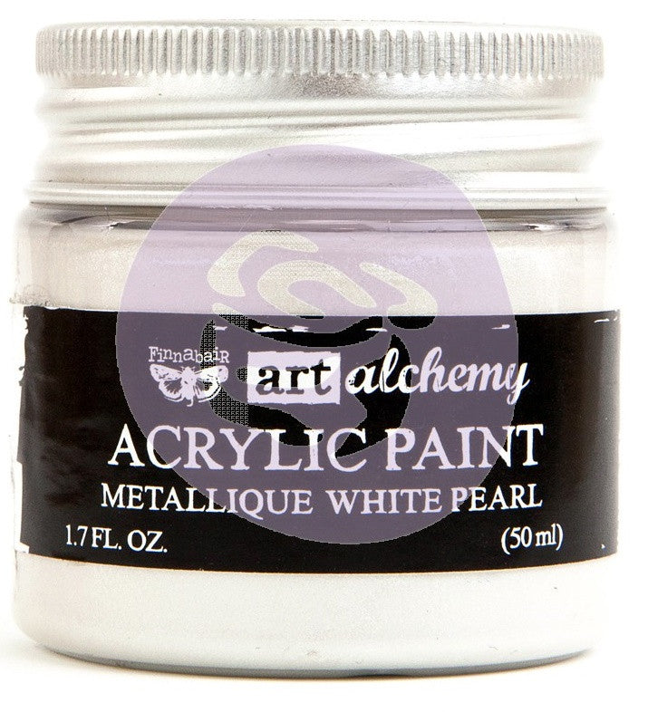 Prima Marketing - Finnabair Art Alchemy - Acrylic Paint 1.7 Fl. Oz. - Metallique White Pearl