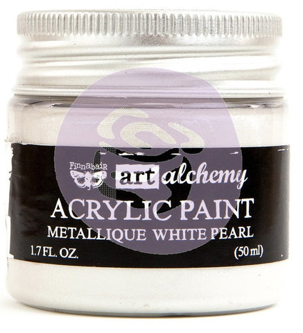 (Pre Order) Prima Marketing - Finnabair Art Alchemy - Acrylic Paint 1.7 Fl. Oz. - Metallique White Pearl