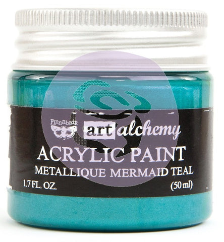 (Pre Order) Prima Marketing - Finnabair Art Alchemy - Acrylic Paint 1.7 Fl. Oz. - Metallique Mermaid Teal