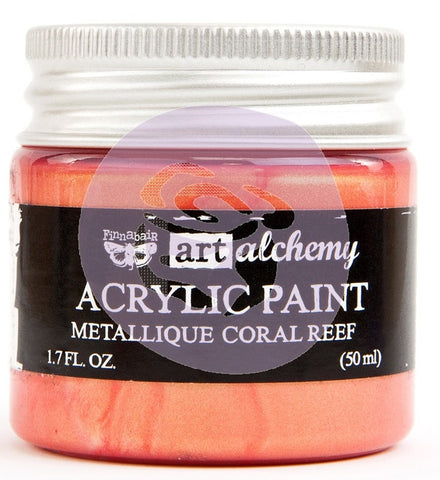 Prima Marketing - Finnabair Art Alchemy - Acrylic Paint 1.7 Fl. Oz. - Metallique Coral Reef