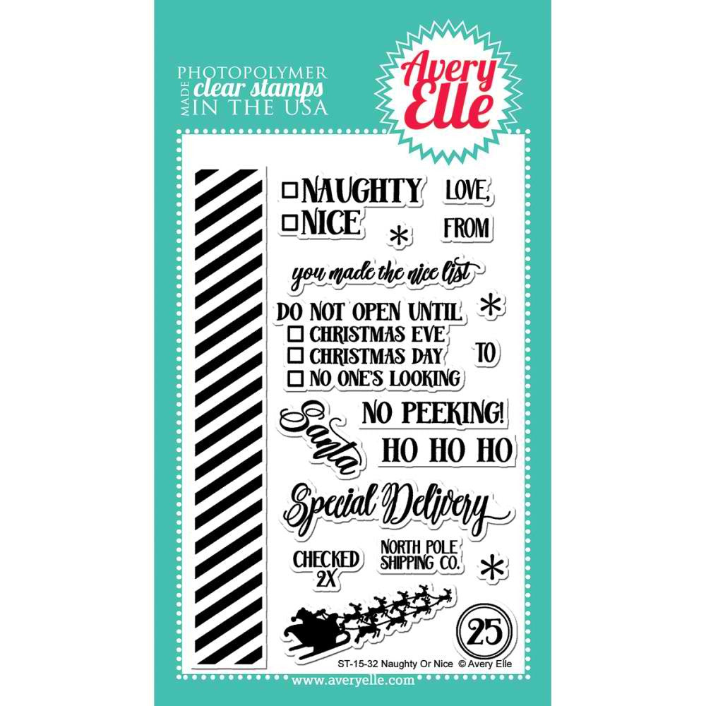 "Avery Elle Clear Stamp Set 4""X6"" - Naughty Or Nice"