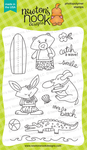 "Newton's Nook Designs 4"" x 6"" Clear Stamps - Beach Party"