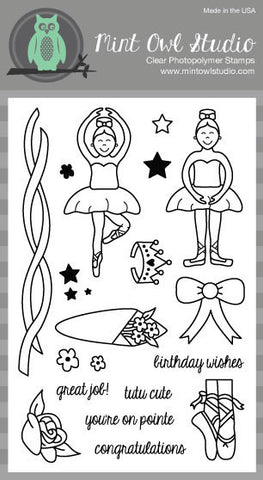 "Mint Owl Studio - BALLET LOVE 4"" x 6"" Stamp Set"