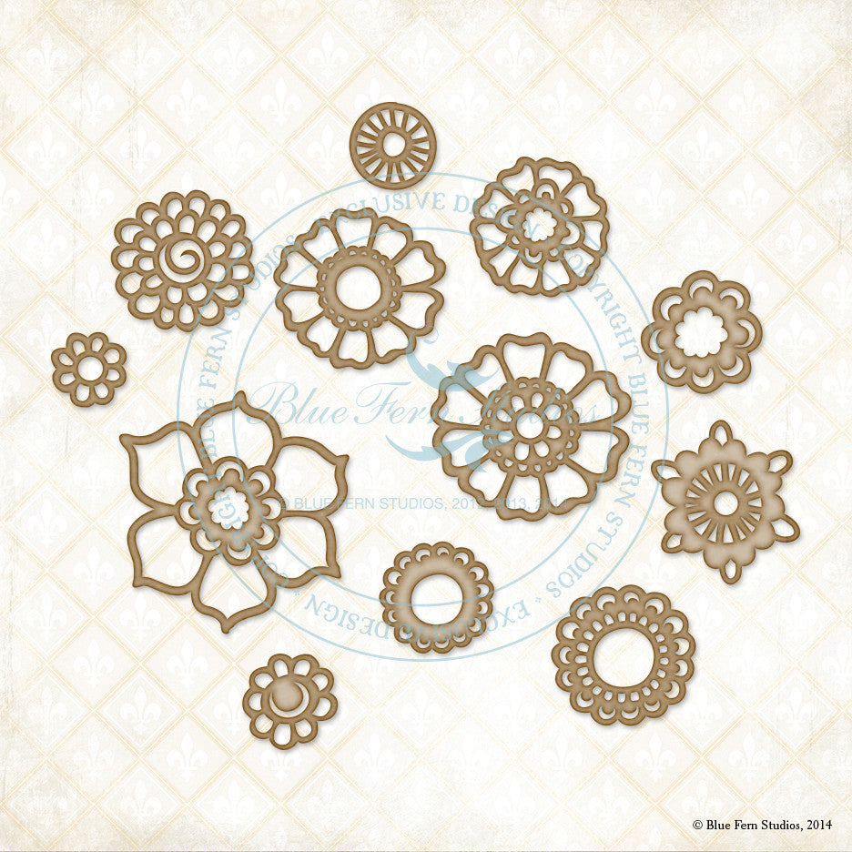 Blue Fern Studios - Chipboard - Bohemian Flowers