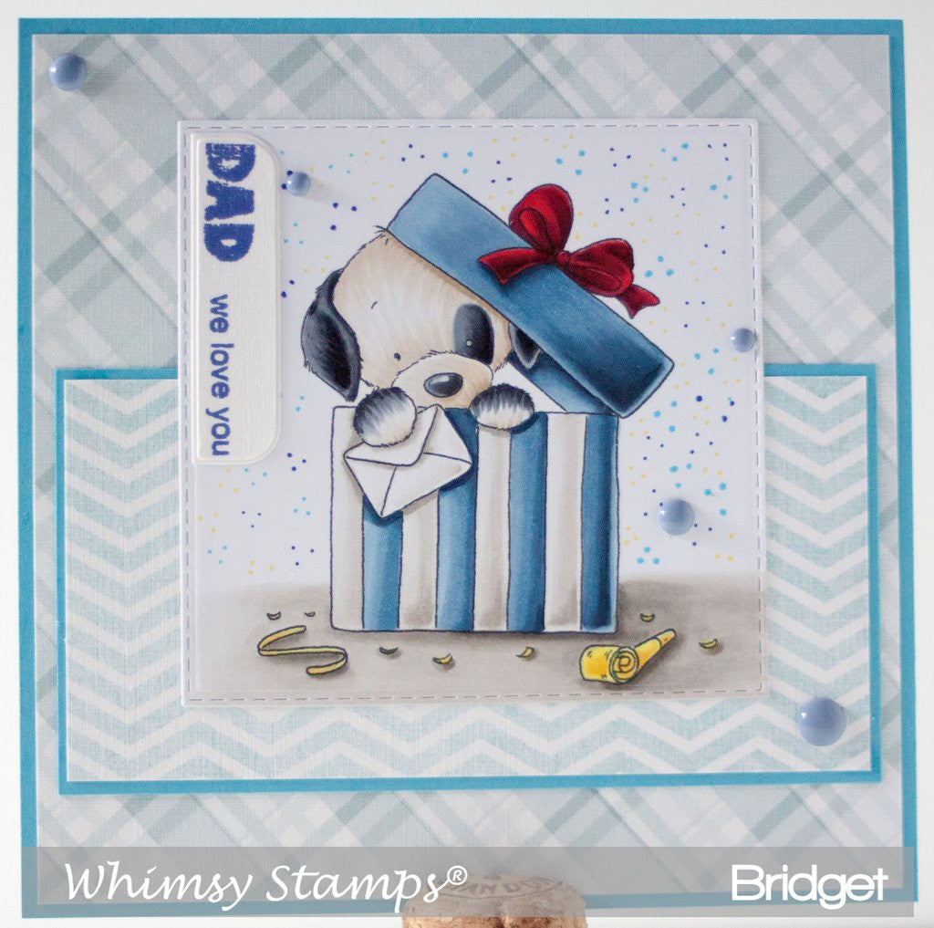 Whimsy Stamps - Cling Stamps - Puppy in Present