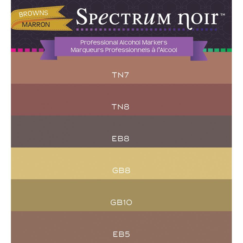 Crafter's Companion Spectrum Noir Alcohol Markers - Browns - Pack of 6