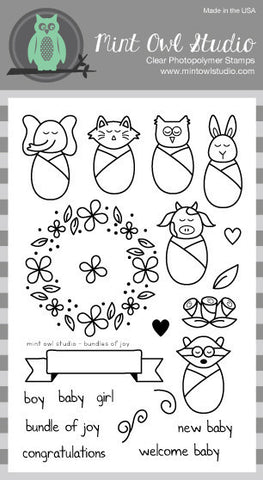 "Mint Owl Studio - BUNDLES OF JOY 4"" x 6"" Stamp Set"