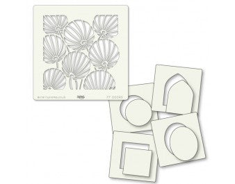 "Clarity Stamp - 7"" x 7""  Stencil - Chinese Lanterns And Shapes Stencil Set (5 stencils + Masks)"