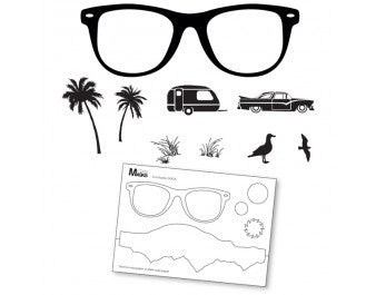 "Clarity Stamp -  Clear Stamp ""As Seen on TV"" - Remountable Summer Shades Stamp Set  + MASK (Unmounted)"
