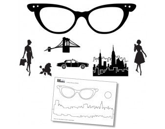 "Clarity Stamp -  Clear Stamp ""As Seen on TV"" - Remountable Ladies Glasses Stamp Set  + MASK (Unmounted)"