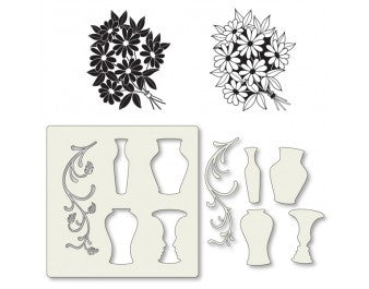 "Clarity Stamp -  Clear Stamp ""As Seen on TV"" - Remountable Bouquet Stamps with  Vase Stencil  7"" x 7""  + MASK (Unmounted)"