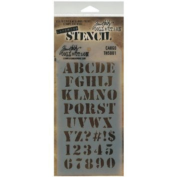 Stampers Anonymous - Tim Holtz - Layering Stencil - Cargo Alphabet