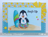 Whimsy Stamps - Photopolymer Clear Stamps - Penguin Life's a Beach