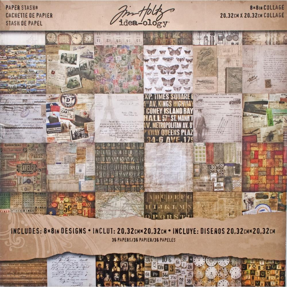 "Tim Holtz Idea-Ology Paper Stash Paper Pad 8"" x 8"" - Collage"