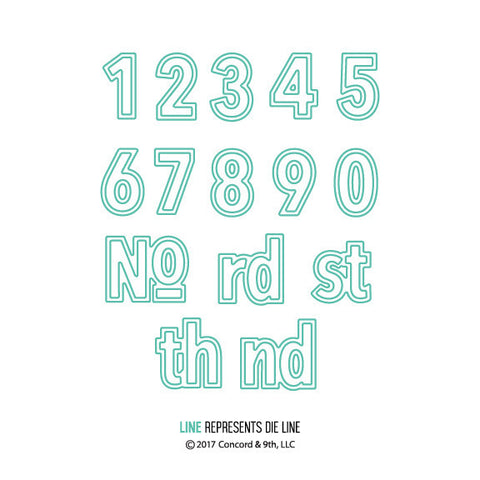 Concord & 9th - 15 Piece Die Set - Double-Cut Numbers