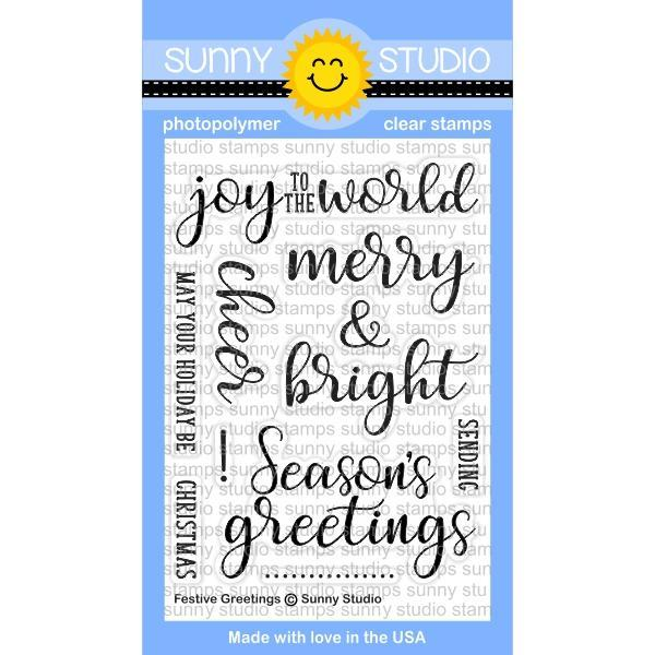 "Sunny Studio - "" Photopolymer Clear Stamp Set -Festive Greetings"