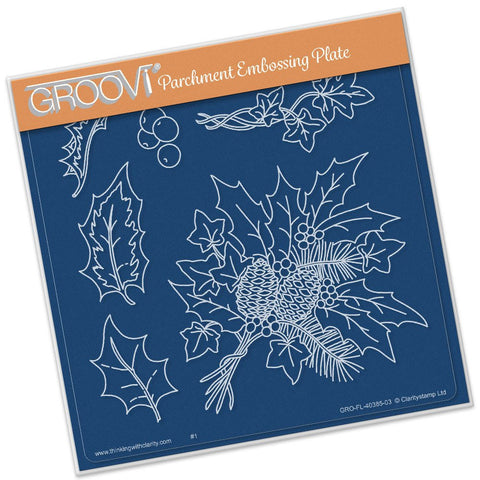 ***New Item*** Clarity Stamp - Groovi Plate A5 - Jayne Nestorenko - Holly & Ivy Plate