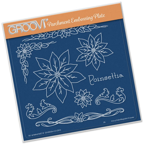 ***New Item*** Clarity Stamp - Groovi Plate A5 - Jayne Nestorenko - Poinsettia Name Plate