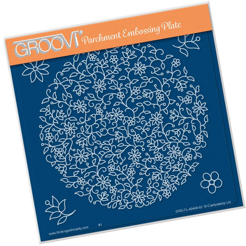 Clarity Stamp - Groovi Plate A5 - Floral Moon