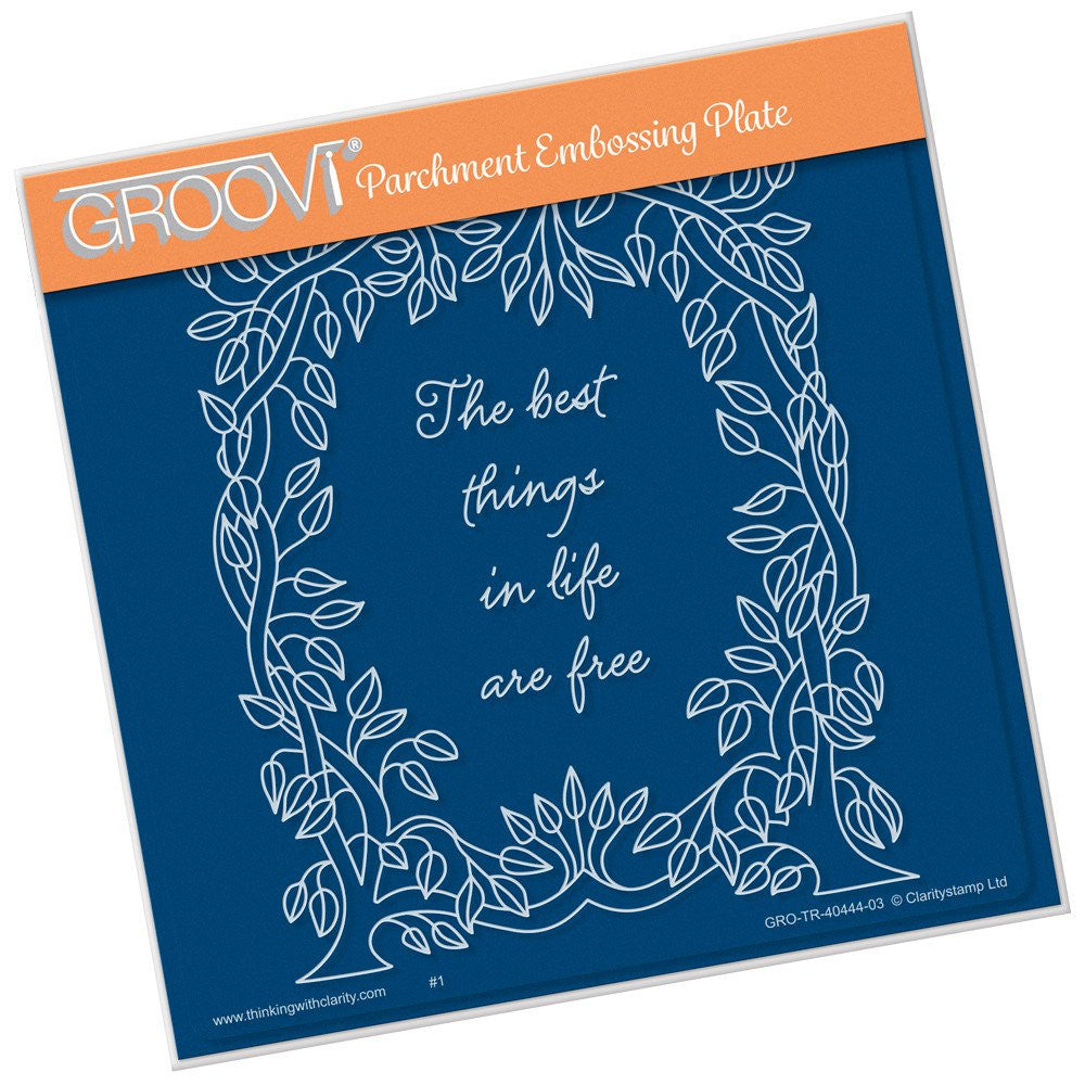 Clarity Stamp - Groovi Plate A5 - Leafy Frame