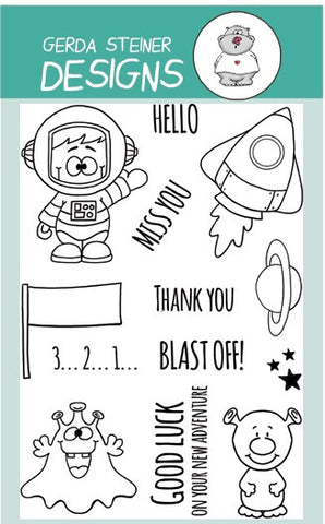 "Gerda Steiner Designs - 4"" x 6"" Stamp Set - Blast Off"