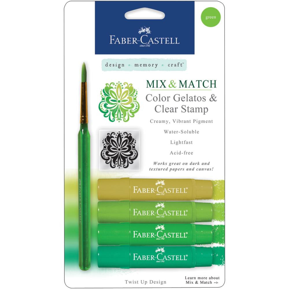 Faber Castell - Mix and Match Gelatos & Clear Stamp Set - Greens - 6 piece set