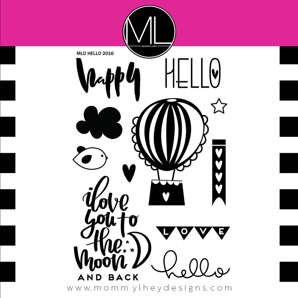 "Mommy Lhey, Stamps 4""x6"" - Hello"