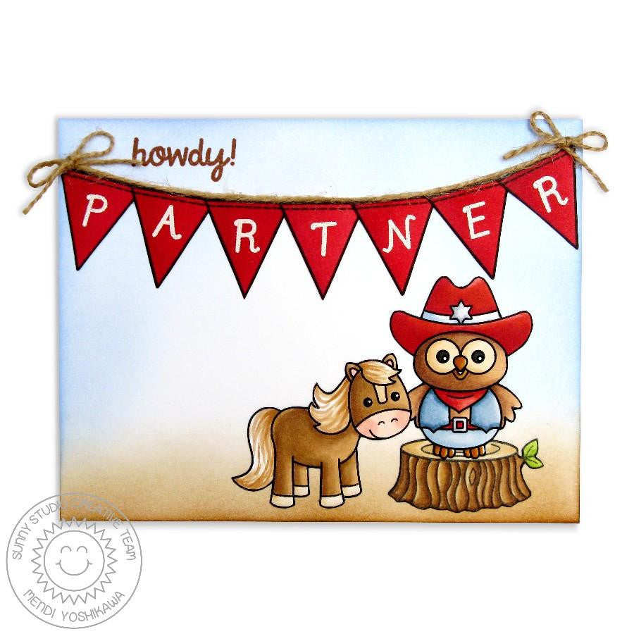 Sunny Studio - Photopolymer Clear Stamps - Happy Owl-o-ween