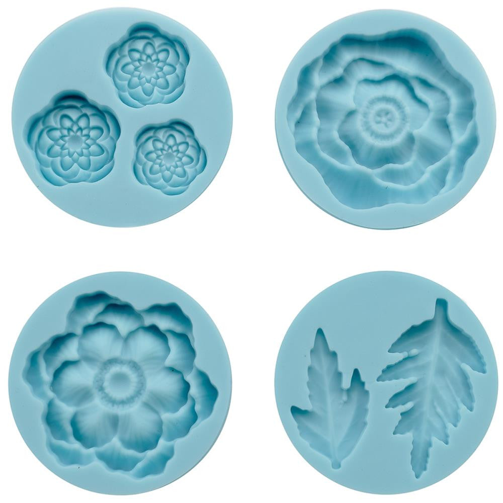 Martha Stewart Crafter's Clay Silicone Molds - 4/Pkg - Cheerful Flowers