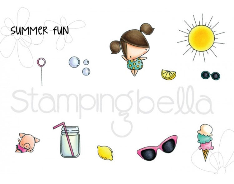 Stamping Bella - Cling Stamp Set - The Littles Ice Cream & Lemonade