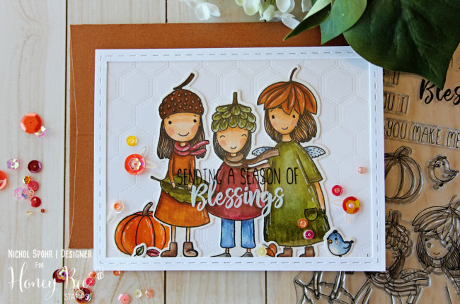 Honey Bee Stamps - Acorn Sisters | 4x8 Stamp Set