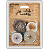"Tim Holtz Idea-Ology Accoutrements Buttons .75"" To 1.5"" 10/Pkg"