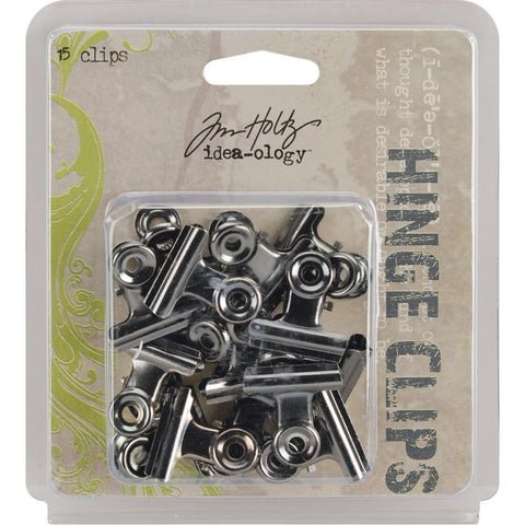 "Tim Holtz Idea-Ology Hinge Clips 1"" 15/Pkg- Metal Hinge Clips, 1-Inch, Pack of 15, Antique Nickel Finish"
