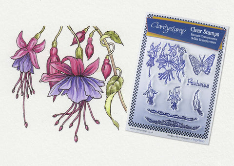 Clarity Stamp - Unmounted A5 Stamp Set - Jayne Nestorenko Floral Collection - Fuchsias