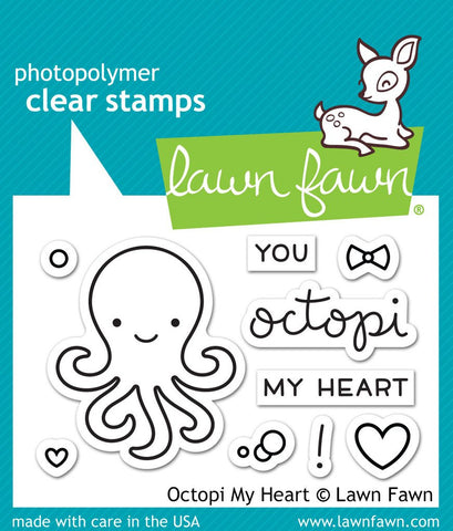 Lawn Fawn, Photopolymer Clear Stamps - Octopi My Heart (coordinates with Octopi My Heart Dies Set) (Available: Feb. 20, 2017)