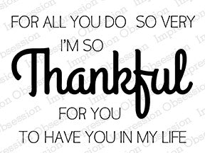"***New Item*** Impression Obsession - ""Thankful"" 3"" x 4"" Clear Stamps - (coordinates with ""Thankful"" Die set)"